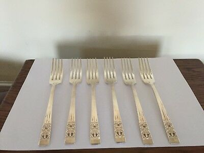 "6 Uncased Silver Plated Dessert Forks  (Community Hampton Court) 7.25""(Spdf 9Y)"