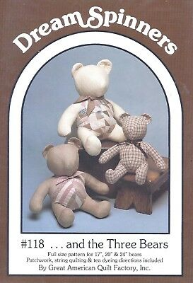 Vintage Stuffed Quilt Teddy Bear Sewing Pattern UNCUT Classic 17 20 24 Inches