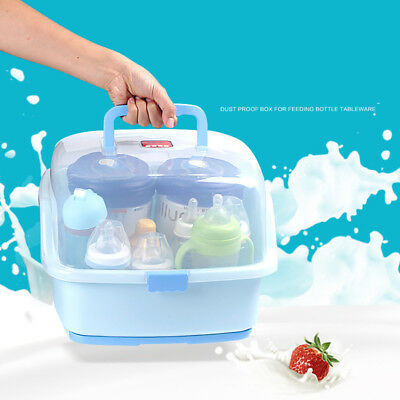Bottle Drying Racks with Anti-dust Cover Storage Box Baby Dinnerware Organizer
