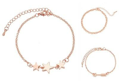 DQ Rose Gold Link Chain Bracelet With Extension Chain - 2 Designs - lady-muck1