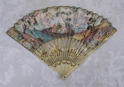 Antique 19th C Art Nouveau Victorian Fan Hand Painted Mother of Pearl Carved