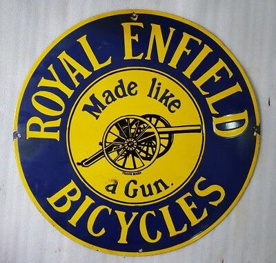 VINTAGE ROYAL ENFIELD BICYCLES Porcelain Enamel Sign 24 INCHES ROUND