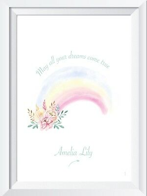 Personalised baby girl rainbow name print picture nursery gift wall decor dreams