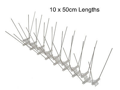 Bird Pigeon Spikes, 2 rows, 50 cm Base Length Stainless Steel Pigeon Spikes x 10