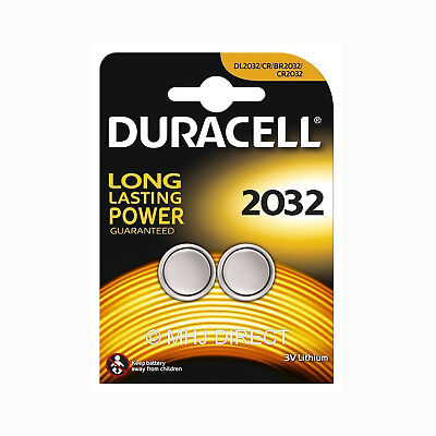 2 x Duracell CR2032 DL/BR 2032 3v Lithium Coin Cell Batteries Use By Date 2026