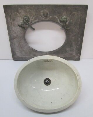 Antique Trenton Pottery Vitreous China Bathroom Sink Bowl Marble Counter Top