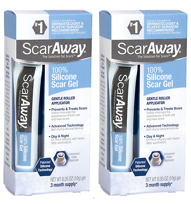 2 Pack ScarAway 100% Silicone Scar Gel 3 Month Supply 0.35 oz (10g) x2 Exp 2020