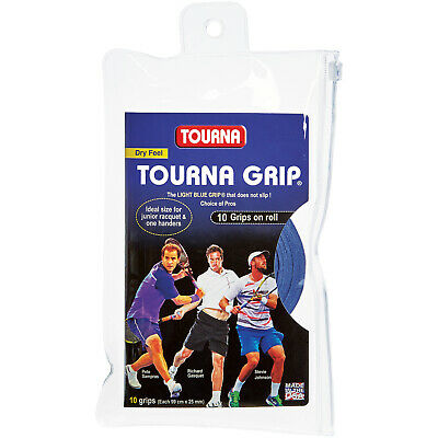 Tourna Grip Original 10 Pack Tennis Badminton Overgrip - Blue - Dry Feel