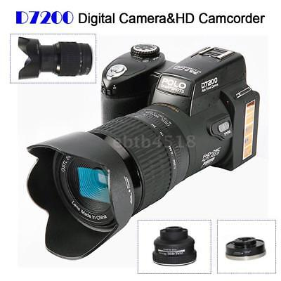 "Polo D7200 Hd 33Mp 3"" Lcd 24X Zoom Led Digital Dslr Foto Kamera Camcorder A6V3"