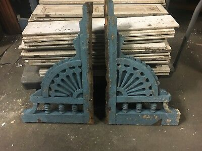 "PAIR c1870 VICTORIAN gingerbread CORBEL brackets FaNCY detail 35"" x 22"" x 2.75"""