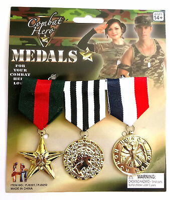 New Combat Hero Medals Army Military Cadet War Soldier Medals Fancy Dress.