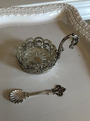 Vintage Salt Dish And Spoon