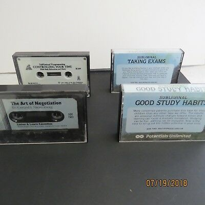 Lot: 4 Subliminal Self Hypnosis Cassettes: Study Habits Exams Negotiation Time