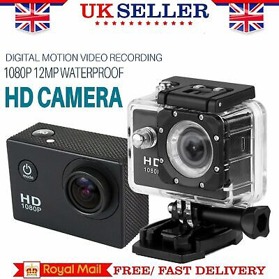 Sport Action Camera 12MP 1080P FHD 140° Waterproof CAM With Motion Detection TF