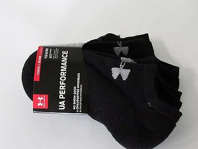UNDER ARMOUR 4-Pack BLACK No-Show Socks, YLG fit shoe size 1-4