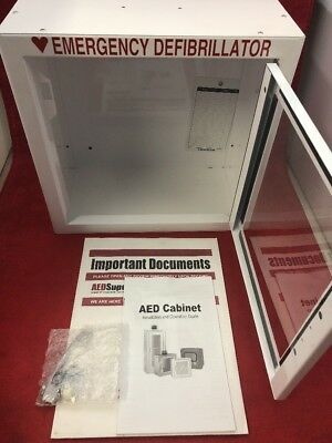 "AED Emergency Medical Defib Cabinet Steel Wall Mount White 13.5x13x7"" See Desc."