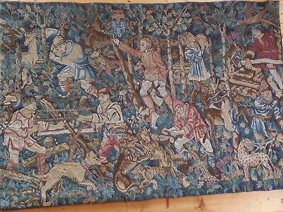 """Tapestry, Large, A French Woven Woolen, Medieval Wall Hanging 72"""" x  49"""""""