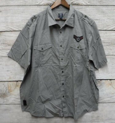 Black Jack Big Mens Size 4X Gray Slim Fit Patchwork Button Down Shirt New