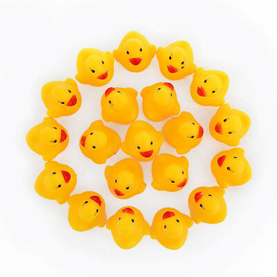 100pcs/lot Bath Duck Sound Floating Rubber Ducks Toy Rubber Duck Classic Toys