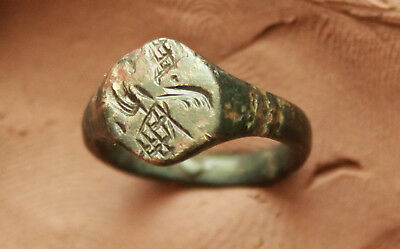 Ancient Roman Bronze Ittaglio Seal Ring Size  D=16mm
