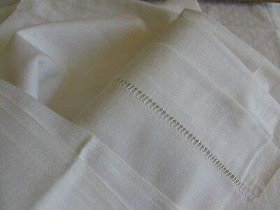 Antique French old beautiful metis linen large sheet.