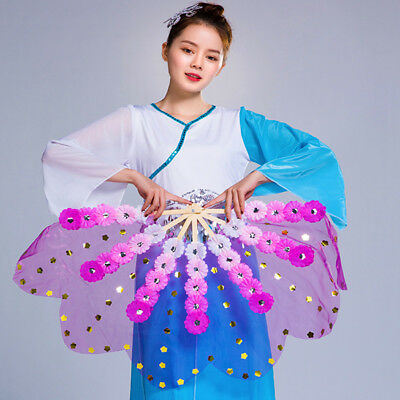 One Pair Bamboo Floral Mesh Hand Fan Belly Dance Show Photograph Shoot Props New