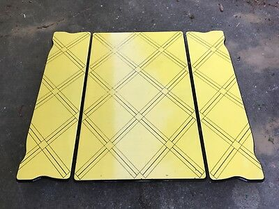 Antique Vintage Porcelain Enamel Bright Yellow 2 Leaf Kitchen Table Top