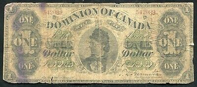"""DC-8f 1878 $1 ONE DOLLAR DOMINION OF CANADA """"PAYABLE AT TORONTO"""" BANKNOTE"""