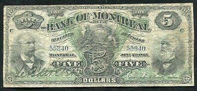 1895 $5 The Bank Of Montreal Canada Chartered Banknote #5505-44-02 Rare