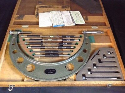 """Mitutoyo  6 - 12"""" Outside Micrometer In Original Wooden Case. No Reserve Auction"""