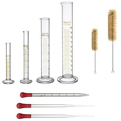 Thick Glass Graduated Measuring Cylinder Set 5ml 10ml 50ml 100ml Two Brushes