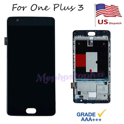 "For One Plus 3 A3000 LCD Touch Screen Digitizer Display + Frame 5.5"" Black"