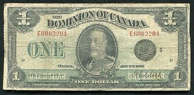 DC-25o 1923 $1 ONE DOLLAR DOMINION OF CANADA BLACK SEAL BANKNOTE