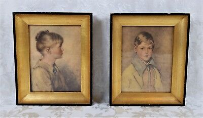 Pair of Vintage 1920's Framed Lithograph Prints Portraits of Children Boy Girl