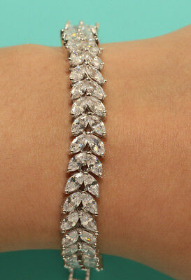 "1347f97eb80 18k Marquise Diamond Tennis Bracelet 7.25"" White Gold Finish Rubyshire 3CT"