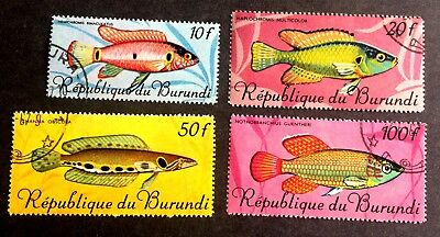 4 nice old canceled stamps fishes Burundi