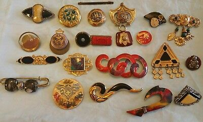 Huge LOT of 21 ANTIQUE Vintage MIXED Style ASIAN Oriental Inspired BROOCHES Pins