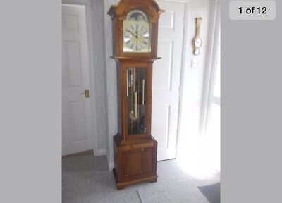 Vintage Longcase Clock With Three Chains Westminter Chimmes In Working Order