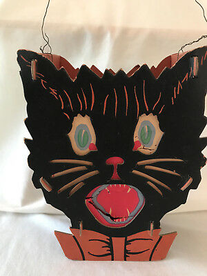 Vintage Halloween 2-Sided Cardboard Lithographed Black Cat Lantern - DOLLY TOY