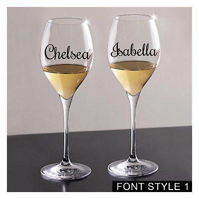 2 x Personalised NAME Or WORDS Vinyl Decal STICKERS For Wine Glass Mug Bottle