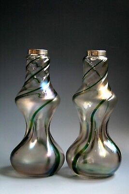 A Pair Antique Art Nouevau Period Glass Vases with silver rim