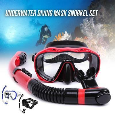 Underwater Full Dry Breathing Tube Diving Goggles Toughened Glass Mask Suit S0W5