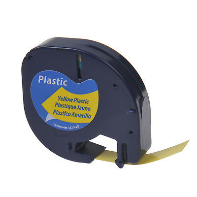 "1/2"" Black on Yellow Plastic Label Tape for Dymo Letra Tag LT 91332 LT100H Print"