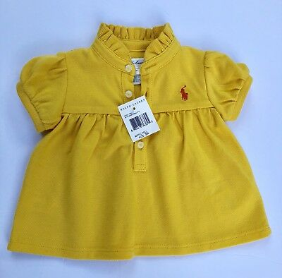 Ralph Lauren Girls Toddler Polo With Logo Authentic Artic Yellow Size 3M