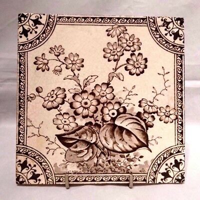 Antique~Victorian~Ceramic~Fireplace~Mantel~Tile~Flowers~Floral~Farmhouse