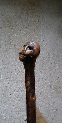 antique wooden swagger stick with a carving of a face on it good condition.