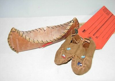 Indian Souviner Moccasins And Wood Canoe