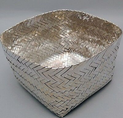 Mexican Sterling Silver Woven Basket