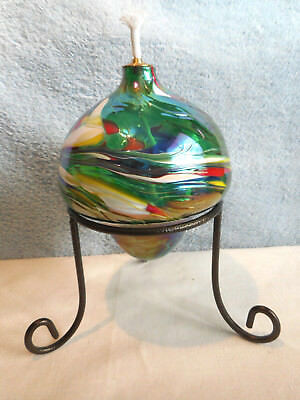 New Oil Lamp Green Hand Blown Glass Art Poland, Table Top w Stand Unused Fancy