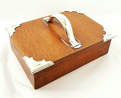 Antique Mappin and Webb Solid Silver Mounted Cigar Box 1904 Oak
